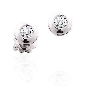 2 carats Bezel set round cut diamonds Stud earring